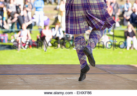 Highland dancing tartan girl kilt dancer Pitlochry - Stock Photo
