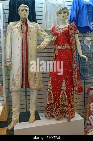 Mannequins in a men's & women's wedding clothes in an Indian shop Perfection Bridals on 74th St. in Jackson Heights, - Stock Photo
