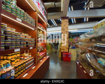 Supermarket aisle in Guilin, China - Stock Photo