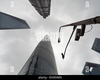 The Shanghai World Financial Center, Jin Mao Tower and the Shanghai Tower skyscrapers in the Pudong district of - Stock Photo