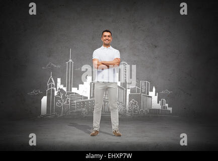 smiling man over city sketch background - Stock Photo