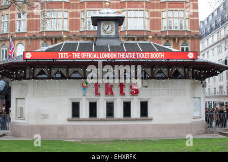 The official London theatre ticket booth in Leicester Square - Stock Photo