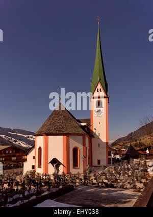St Oswald's Church in Alpbach village, Tyrol region of Austria. Austria's prettiest village and well known ski resort. - Stock Photo