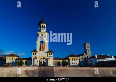 The Coronation Orthodox Cathedral and Saint Michael Roman Catholic Cathedral  in Carolina White Fortress Of Alba - Stock Photo