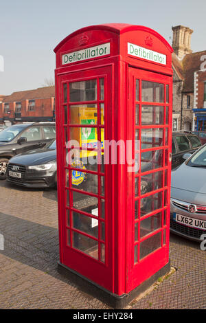 Public Defibrillator in an old phone box. - Stock Photo