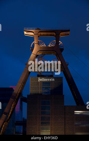 Shaft tower 12 UNESCO world heritage site Zeche Zollverein in Essen Katernberg in the evening, Ruhrgebiet, Germany - Stock Photo