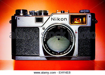 Rare Nikon S4 Rangefinder Camera with 5cm 1.4 Lens. The S4 was made for the Japanese Market only 5000 were produced. - Stock Photo