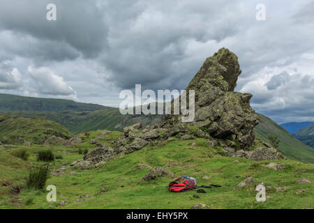 View on Helm Crag, also known as the Lion & the Lamb, Grasmere, Cumbria, Lake District, England, Great Britain, - Stock Photo