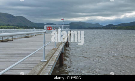 Dark clouds gathering on Ullswater at Pooley Bridge Pier, Eden District, county of Cumbria, England, Great Britain, - Stock Photo