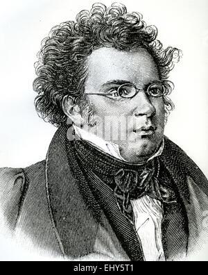 FRANZ SCHUBERT (1797-1828) Austrian composer in an 1846 engraving - Stock Photo