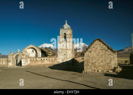 Picturesque old stone church in Sajama national park in Bolivia - Stock Photo