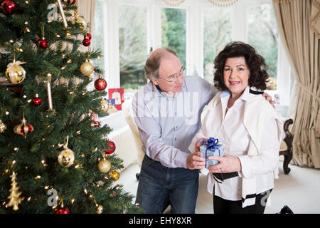 Senior couple standing with gift parcel by Christmas tree - Stock Photo