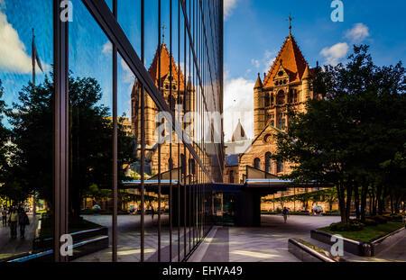The John Hancock Building and Trinity Church, in Boston, Massachusetts. - Stock Photo