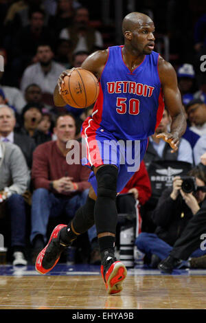 Philadelphia, Pennsylvania, USA. 18th Mar, 2015. Detroit Pistons center Joel Anthony (50) in action during the NBA - Stock Photo