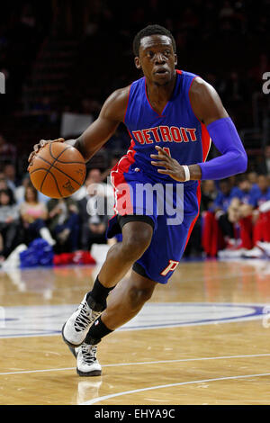 Philadelphia, Pennsylvania, USA. 18th Mar, 2015. Detroit Pistons guard Reggie Jackson (1) in action during the NBA - Stock Photo