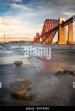 Forth Rail Bridge Early Morning. Taken from South Queensferry harbour looking towards North Queensferry. - Stock Photo