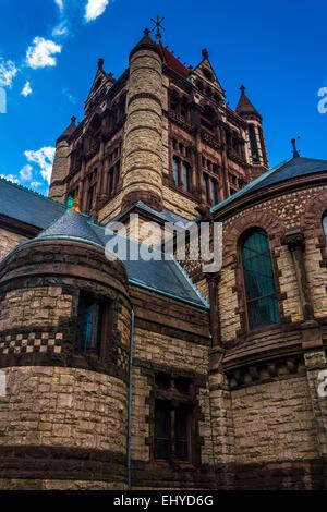 Trinity Church, in Boston, Massachusetts. - Stock Photo
