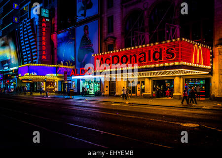 NEW YORK CITY - AUGUST 24, 2014: McDonalds on 42nd Street at night, in Times Square, Midtown Manhattan, New York. - Stock Photo