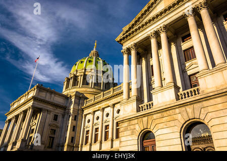 Evening light on the Pennsylvania State Capitol in Harrisburg, Pennsylvania. - Stock Photo