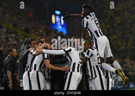 Dortmund, Germany. 18th Mar, 2015. Turin's players and Paul Pogba (top) celebrate during the Champions League Round - Stock Photo