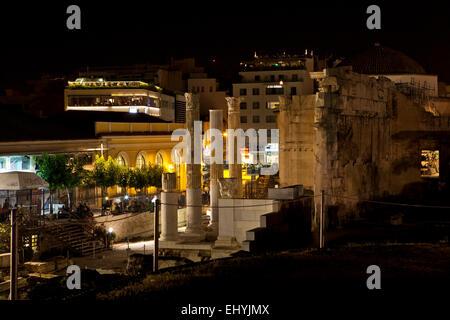 Hadrian's Library and  Monastiraki square at night in Athens, Greece. - Stock Photo