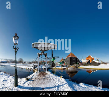 Netherlands, Holland, Europe, Zaandam, Open air, museum, De Zaanse Schans, windmill, city, village, water, winter, - Stock Photo