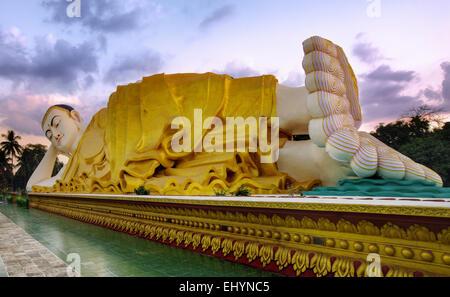 Mya Tha Lyaung Reclining Buddha, Bago Region, Myanmar - Stock Photo