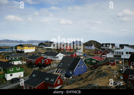 Colorful buildings in Nuuk, Greenland - Stock Photo