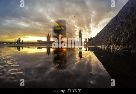 Westminster Bridge at sunset, England, UK - Stock Photo
