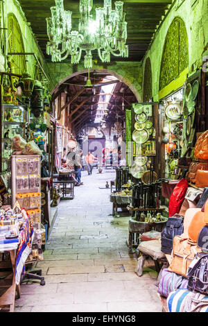 View of a street in the Khan el-Khalili souk in Cairo. - Stock Photo