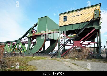 A view of Duke Street 'Rolling Bascule' bridge in Birkenhead Docks. - Stock Photo