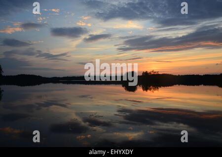 Sweden, Europe, lake, smaland, markaryd, store sjö, island, isle, summer, sundown, sunset, - Stock Photo