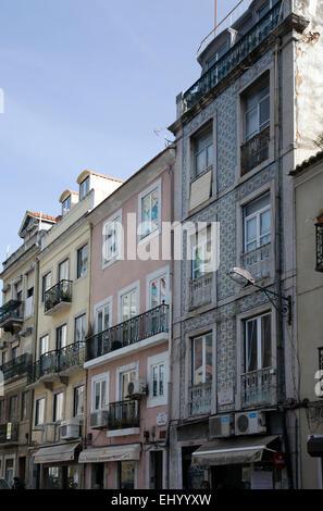 Buildings on Rua de Santa Marta in Lisbon - Portugal - Stock Photo