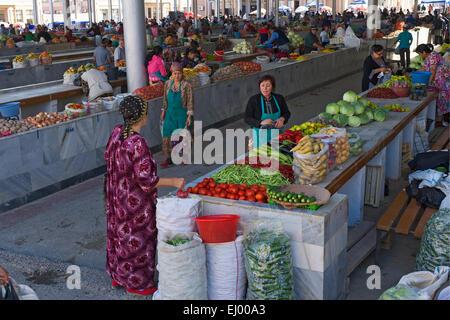 Asia, Uzbekistan, Central Asia, silk road, outside, market stall, state, market, sales, stand, bazaar, Samarkand, - Stock Photo