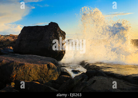 Evening, moody, cliff, rock, cliff coast, water, Great Britain, Highland, highlands, coast, coastal scenery, scenery, - Stock Photo