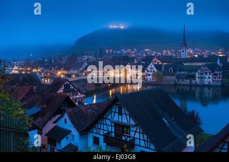Stein am Rhein, Switzerland, Europe, canton Schaffhausen, provincial town, houses, homes, Rhine, dusk - Stock Photo