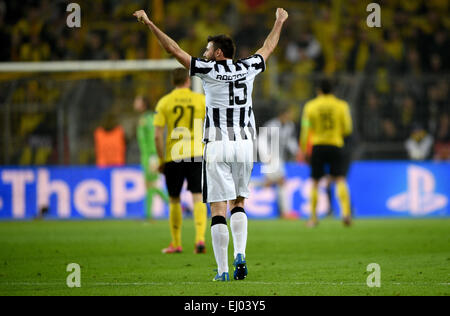 Dortmund, Germany. 18th Mar, 2015. Turin's Andrea Barzagli cheers during the Champions League Round of Sixteen soccer - Stock Photo