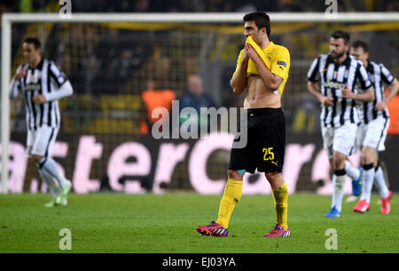 Dortmund, Germany. 18th Mar, 2015. Dortmund's Sokratis reacts during the Champions League Round of Sixteen soccer - Stock Photo