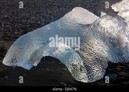 patterned shapely block of ice contrasting with black sand at Jokulsarlon Glacial beach, Diamond beach, Iceland - Stock Photo