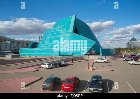Administrative, Astana, Auditorium, building, City, Kazakhstan, Central Asia, Manfredi, New, State, Summer, architect, - Stock Photo