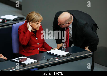 Berlin, Germany. 19th Mar, 2015. Delivery of a governmental declaration by the German Chancellor Angela Merkel in - Stock Photo