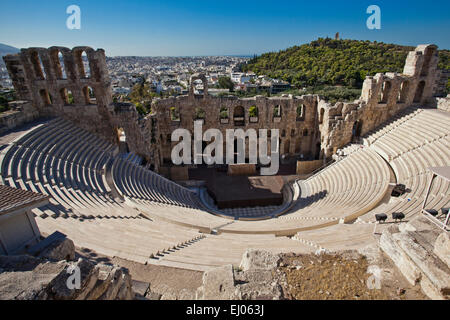 Odeon of Herodes Atticus amphitheater in Athens, Greece. - Stock Photo