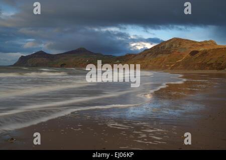 Dusk, Nefyn, Morfa Nefyn, Porth Dinllaen, Llyn Peninsula - Stock Photo