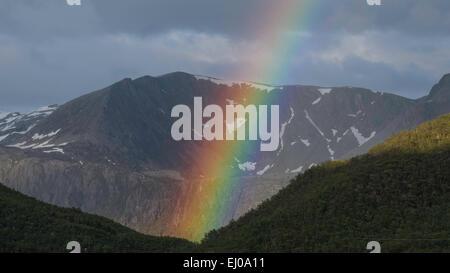 Mountain, arc, colors, mountains, thunderstorms, scenery, landscape, light, Norway, Europe, phenomenon, rainbow, - Stock Photo