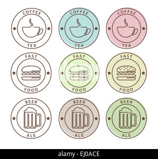 Vector set of food icons in outline style, coffee, tea, beer, fast food - Stock Photo