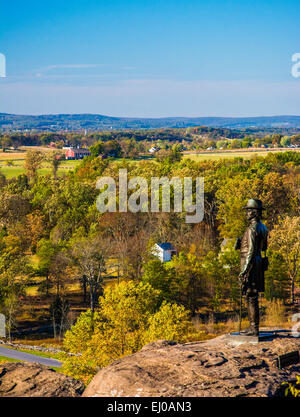 Statue and view battlefields from Little Round Top, in  Gettysburg, Pennsylvania. - Stock Photo