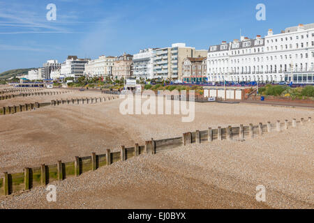 England, East Sussex, Eastbourne, Beach View from Eastbourne Pier - Stock Photo