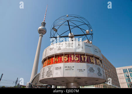 Germany, Berlin, monument, Urania, world time clock, clock, world time, Urania, Alexander place, block of flats, - Stock Photo