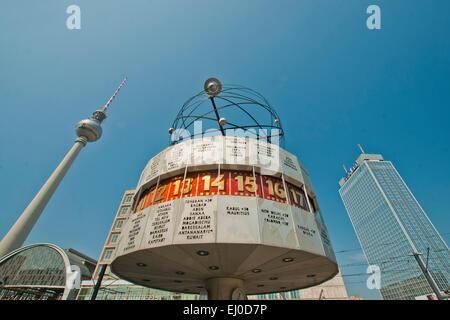 Germany, Berlin, monument, Urania, world time clock, clock, world time, Urania, Alexander place, block of flats, - Stock Photo
