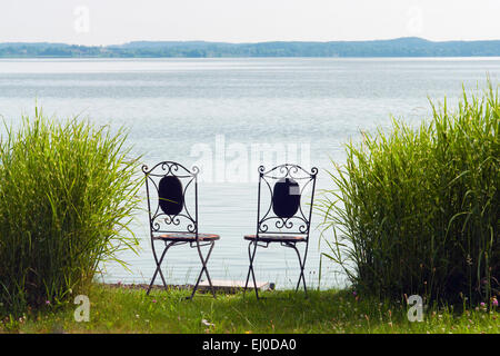 Bavaria, Europe, Germany, Upper Bavaria, Chiemsee, Chiemgau, sky, blue sky, Fraueninsel, Frauenwörth, island, lake, - Stock Photo